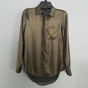 Rock & Republic gold sheer long sleeve shirt.
